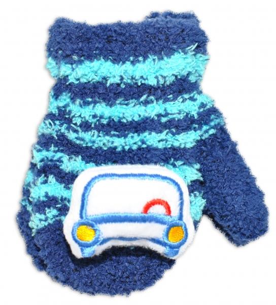 Kojenecké zimné froté rukavice YO - granátová/tyrkys - autíčko, 12cm rukavičky