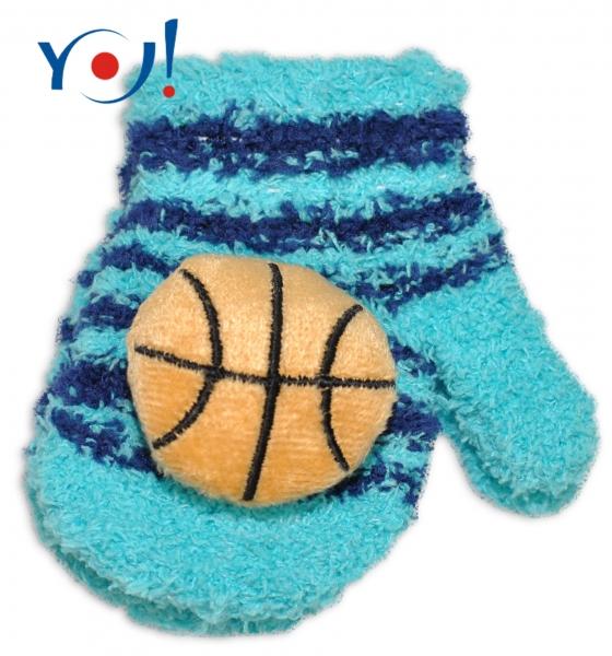 Kojenecké zimné froté rukavice YO - tyrkysová/grnátová - balónik, 12cm rukavičky