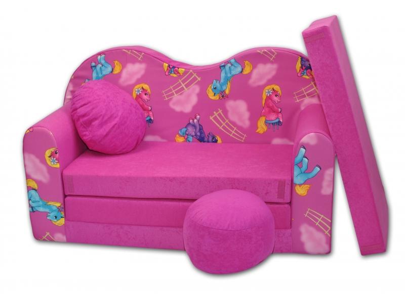 Rozkladacia detská pohovka V - Poníky v růžovom