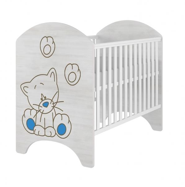 BabyBoo Dětská postieľka LUX s výřezom MAČIČKA modrá - 120x60cm