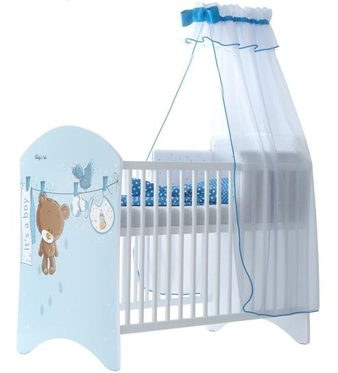 BabyBoo Dětská postieľka Medvedik ÚŠKO modrý - 120x60cm, D19