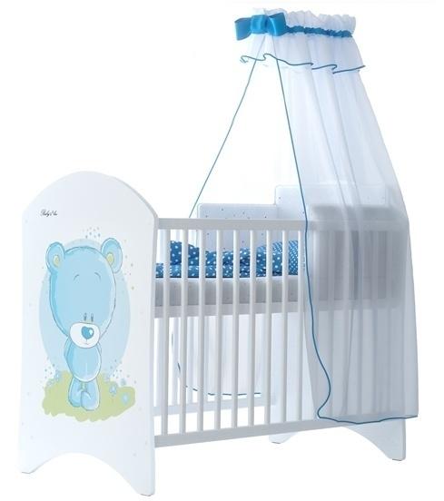BabyBoo Dětská postieľka Medvedik STYDLÍN modrý - 120x60cm, D19