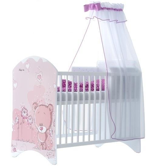 BabyBoo Dětská postieľka Medvedik STYDLÍN růžový - 120x60cm, D19