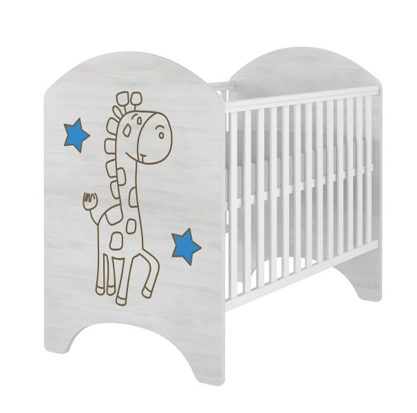 BabyBoo Dětská postieľka ŽIRAFKA - modrá 120x60cm. Gravírovaný obrázok.