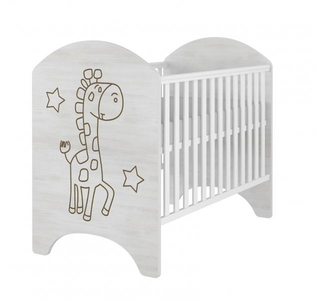 BabyBoo Dětská postieľka ŽIRAFKA 120x60cm. Gravírovaný obrázok.