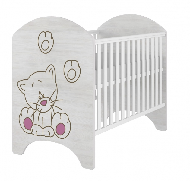 BabyBoo Dětská postieľka LUX s výřezom MAČIČKA růžová - 120x60cm