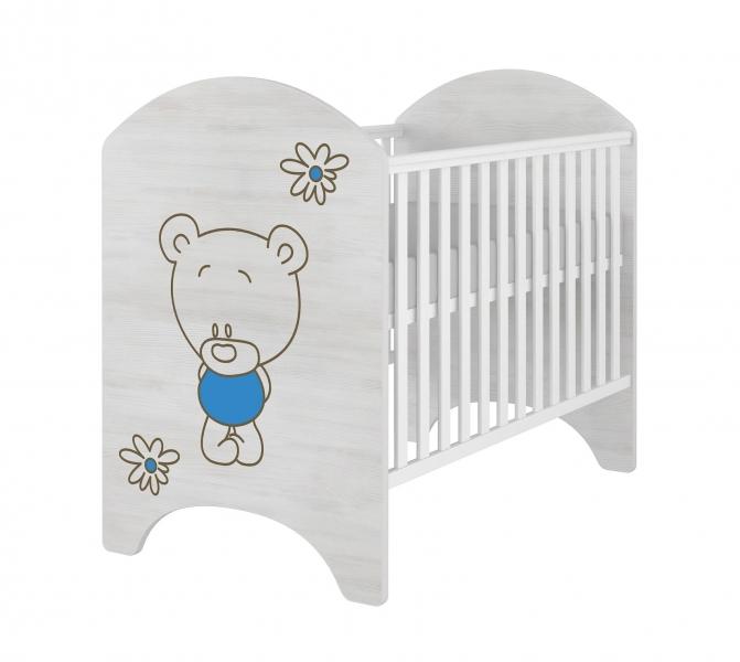 BabyBoo Dětská postieľka LUX s výřezom Medvedík kvietok modrá - 120x60cm