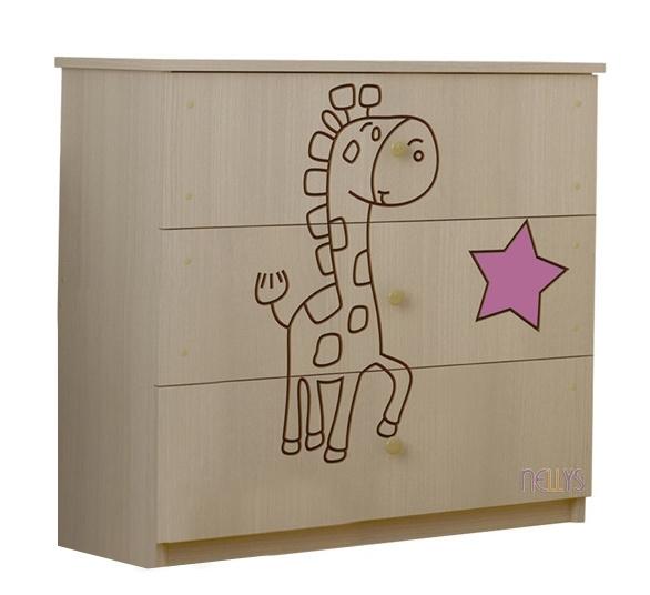 Detská komoda - Žirafka ružová