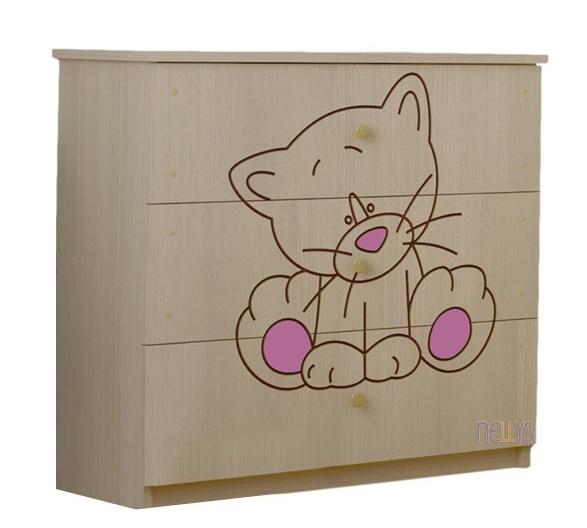 Detská komoda - Mačička ružová