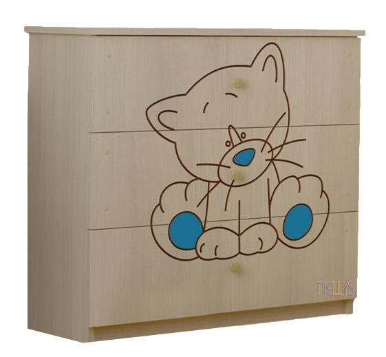 Detská komoda - Mačička modrá