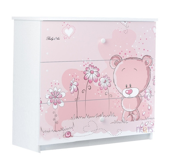 BabyBoo Detská komoda - Medvedík STYDLÍN ružový, D19