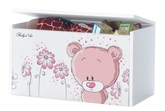 BabyBoo Box na hračky, truhlička Macko STYDLÍN ružový, D19