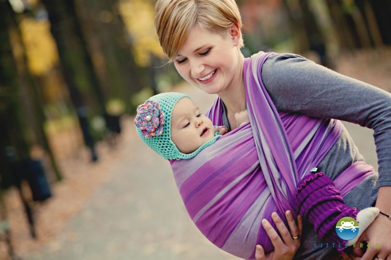 Little FROG Tkaný šatka na nosenie detí -  AMETHYST