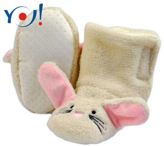 YO ! Zimné topánky polár YO! - zajačik - smotanové, veľ. 6-12 m