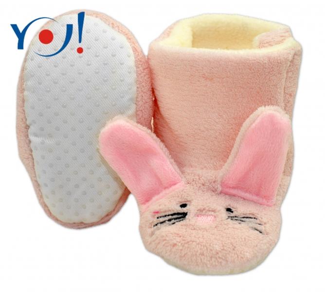 YO ! Zimné topánky/Šľapky polár YO! - králiček - sv. ružové