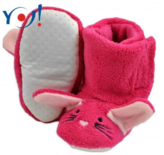 YO ! Zimné topánky/Šľapky polár YO! - králiček - malinové