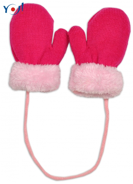 78f917ad6ea2 Zimné detské rukavice s kožušinou - šnúrkou YO - malinová ružová  kožušinaKód  R- empty