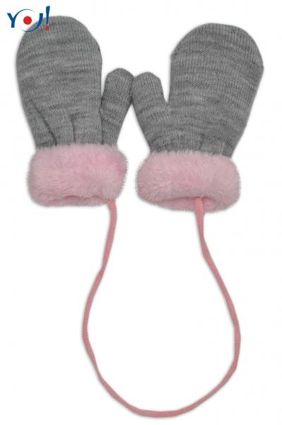 YO !  Zimné detské rukavice s kožušinou - šnúrkou YO - sivá/ružová kožušina