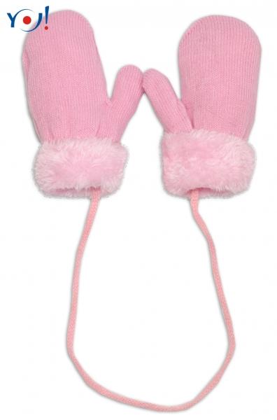 YO !  Zimné detské rukavice s kožušinou - šnúrkou YO - sv. ružová/ružová kožušina, veľ. 12cm