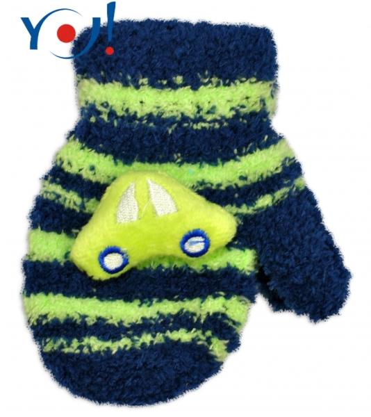 YO !  Kojenecké zimné froté rukavice YO - granát/zelená - autíčko