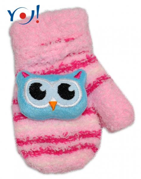 YO !  Kojenecké zimné froté rukavice YO - sv. ružová/malinová - sovička-12cm rukavičky