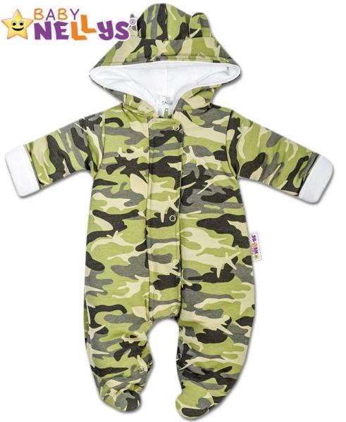 ea92c35da Kombinézka s kapucňu a uškami ARMY Baby Nellys ® zelená 68 empty
