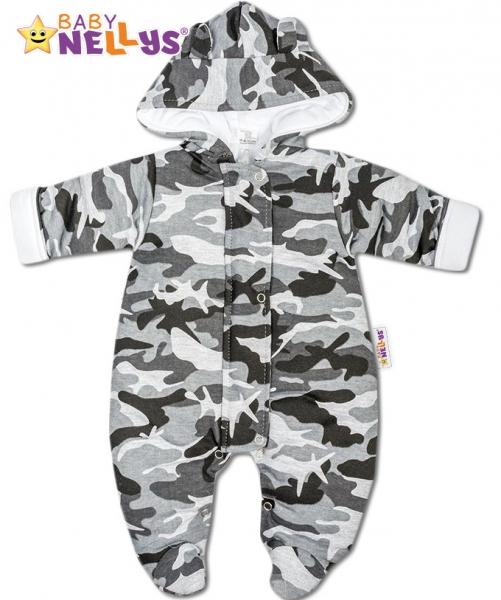 Kombinézka s kapucňu a uškami ARMY Baby Nellys ® sivá, veľ. 62