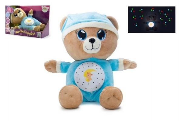 Medvídek Usínáček modrý plyš 32cm na baterie se světlem a zvukem v boxu 12m+