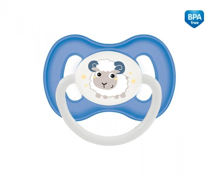 Cumlík symetrický Canpol Babies 6-18m B, Bunny&Company - ovce modrá
