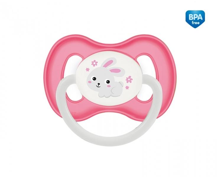 Cumlík symetrický Canpol Babies 6-18m B, Bunny&Company - králiček ružový
