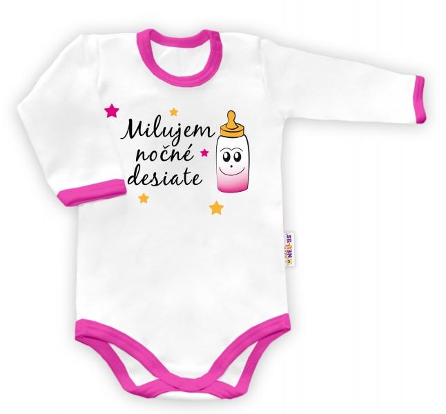 Baby Nellys Body dlouhý rukáv Milujem nočné desiate - biele/ružový lem-48/52