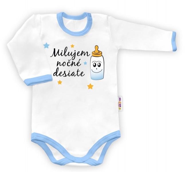Baby Nellys Body dlouhý rukáv vel. 74, Milujem nočné desiate - biele/modrý lem