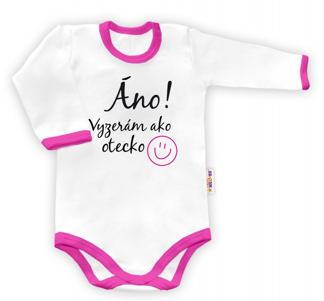 Baby Nellys Body dlhý rukáv Áno, vyzerám ako otecko - biele/ružový lem, veľ. 86