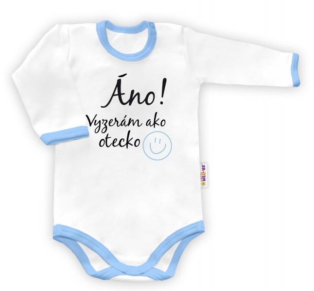 Baby Nellys Body dlhý rukáv Áno, vyzerám ako otecko - biele/modrý lem, veľ. 86