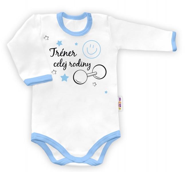 Baby Nellys Body dlouhý rukáv vel. 56, Trenér celej rodiny  - bílé/modrý lem