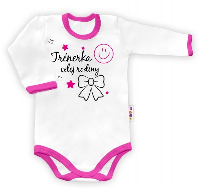 Baby Nellys Body dlouhý rukáv Trenérka celej rodiny  - biele/ružový lem