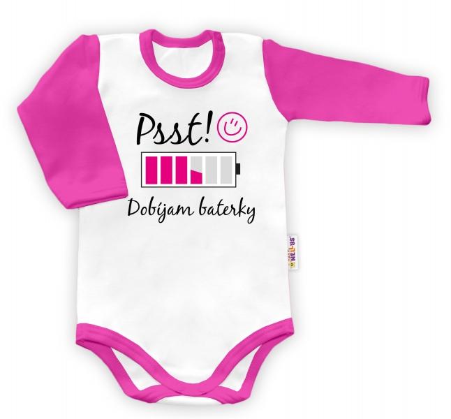 Baby Nellys Body dlouhý rukáv Psst! Dobíjam baterky  - biele/ružový lem