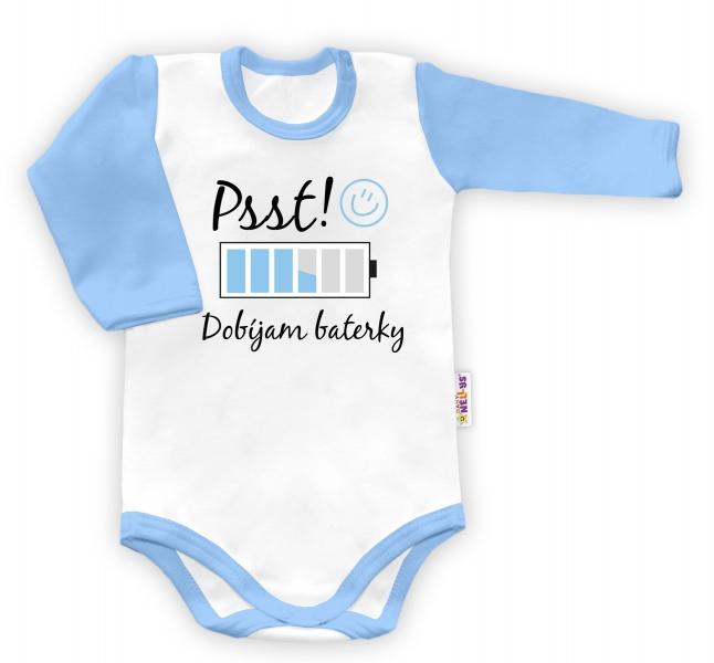 Baby Nellys Body dlouhý rukáv Psst! Dobíjam baterky  - biele/modrý lem-48/52