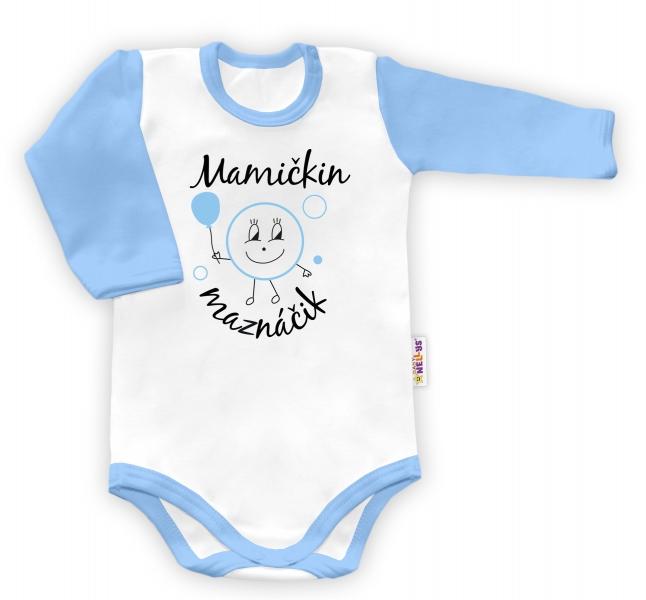 Baby Nellys Body dlouhý rukáv vel. 56, Mamičkin maznáčik  - biele/modrý lem
