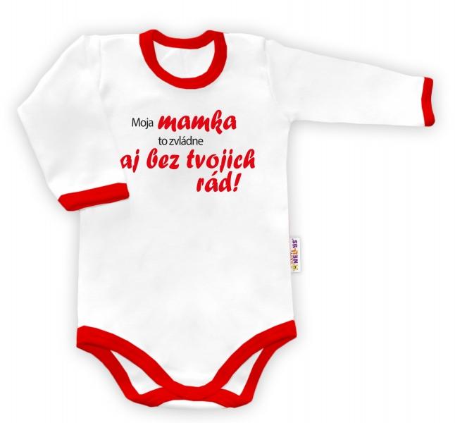 Baby Nellys Body dlouhý rukáv Tvoje rady - biele/červený lem-48/52