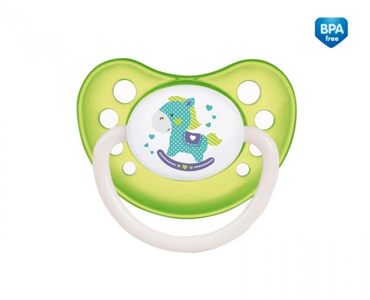 Cumlík anatomický Canpol Babies 6-18m B, TOYS - koníček zelený