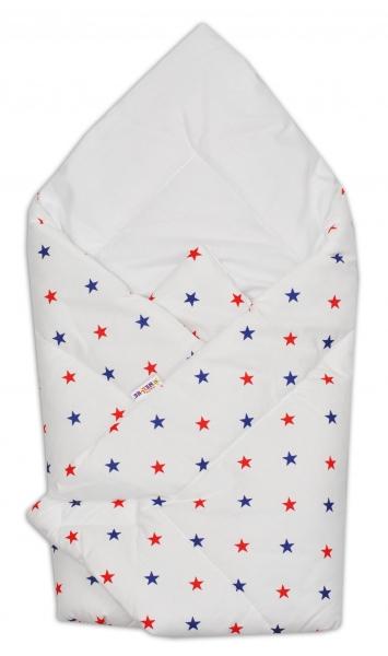 Novorodenecká zavinovačka Baby Nellys ®- granátovo/červené hvezdičky na bielom podkladu