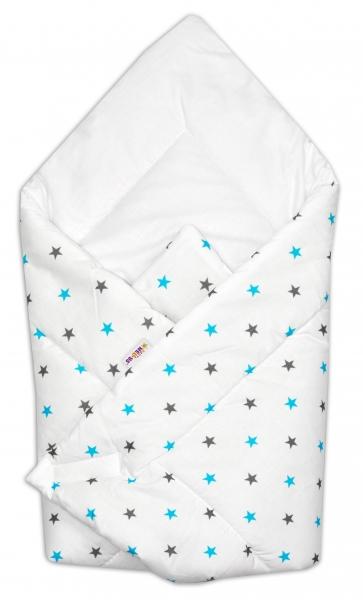 Novorodenecká zavinovačka Baby Nellys ®- tyrkysovo/sivé hvezdičky na bielom podkladu