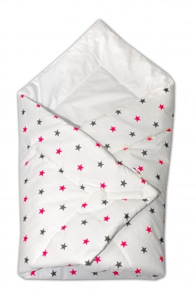 Novorodenecká zavinovačka Baby Nellys ®- ružovo/sivé hvezdičky na bielom podkladu