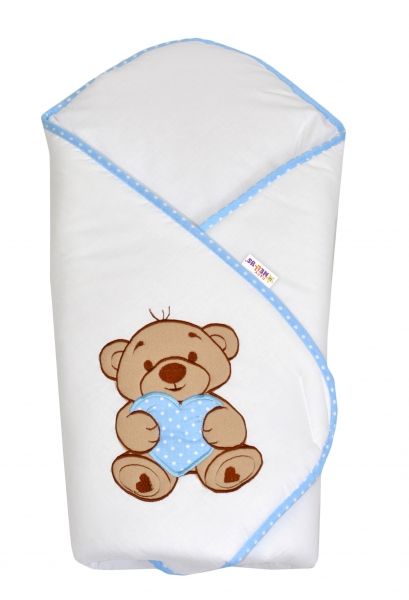 Zavinovačka s výšivkou Baby Nellys ®- Medvedík so srdiečkom - modrý lem