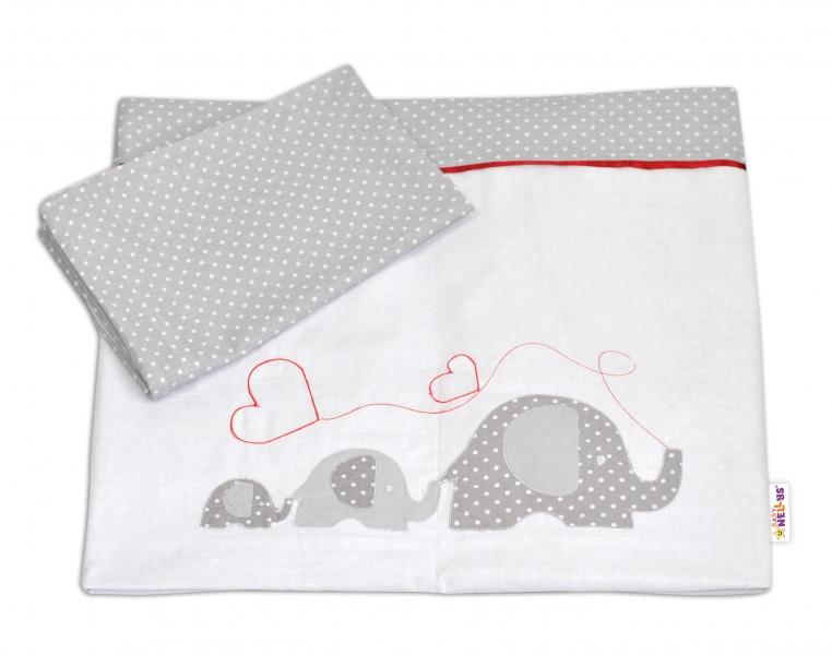 Bavlnené obliečky Baby Nellys s výšivkou ®- Slony so srdiečkom 120x90 cm