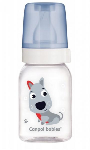 Fľaša Canpol Babies Šťastné zvierata - chlapecké farby