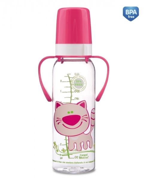 Fľaša Canpol Babies s rukoväťou Šťastné zvierata - dievčenské farby