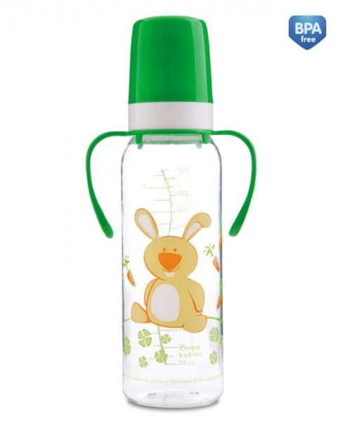 Fľaša Canpol Babies s rukoväťou Šťastné zvierata - neutrálné farby