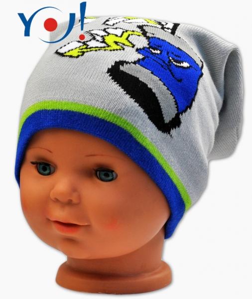YO !  Jesenná čiapočka YO! Grafitti - sv. sivá/modrý lem-#Velikost koj. oblečení;52 čepičky obvod;54 čepičky obvod